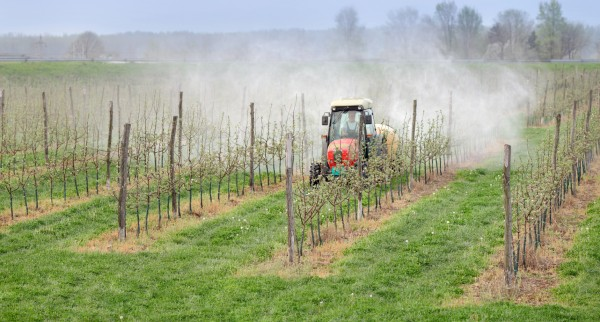 Traktor sprüht Insektizide